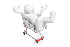 White man with shopping cart. Royalty Free Stock Image