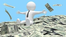 White man sitting on a pile of money Stock Photos
