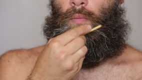 White Man Taking Care of his Lush Beard and stock video footage
