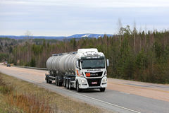 White MAN Tank Truck for ADR Transport on the Road Stock Photography