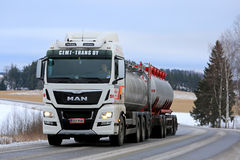 White MAN Tank Truck on the Road royalty free stock image