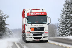 White MAN Tank Truck on Winter Road Royalty Free Stock Images