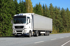 White MAN TGX 18.440 Semi Truck on the Road stock image