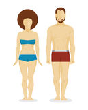 White man and woman bodies. White man and white woman bodies. Vector infographic illustration Royalty Free Stock Photos