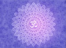 White mandala with the Aum / Om sign on a violet and purple background. Abstract colorful 3d texture Royalty Free Stock Images
