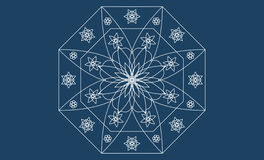 White Mandala on blue background Stock Photo