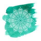 White mandala on green watercolor background vector illustration