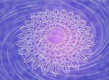 White mandala on a violet and purple vortex background. White mandala with the Aum / Om sign on a violet and purple vortex background. Abstract colorful 3d Stock Photography
