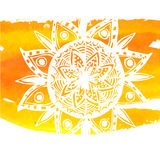 White mandala on yellow watercolor stroke. Symbol. Of home and comfort. Tribal indian vector background Royalty Free Stock Photo
