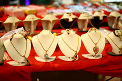 White Mannequins with Indian Designer Necklaces royalty free stock photo