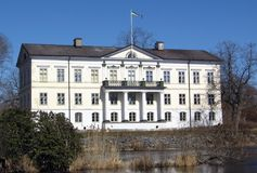 White mansion. An old stately house. Estate Huseby, southern Sweden Royalty Free Stock Photo