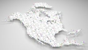 White map of North America. Map of North America | 3d Rendering, mosaic of little bricks - White and harlequin colors Royalty Free Stock Images