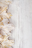 White maple leaves, wooden background Stock Images