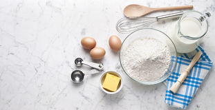 White Marble Baking Cooking Banner Background Stock Photography