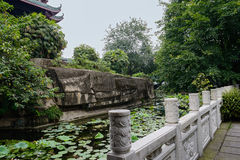 White marble balustrade by lotus pond Stock Image