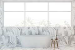 White marble bathroom interior with tub royalty free stock photos