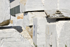White marble blocks. Blocks of white marble in Carrara, Tuscany, Italy Stock Photography