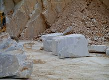 White marble blocks waiting for transport Stock Photo