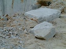 White marble blocks waiting for transport Royalty Free Stock Image