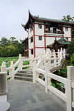 White marble bridge before Chinese traditional building Stock Photos