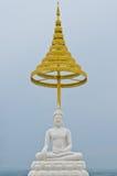 White marble buddha at U-thaithani province Royalty Free Stock Image