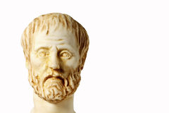 White marble bust of the greek philosopher Aristotle, isolated Stock Images