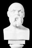 White marble bust of the greek philosopher Socrates, isolated on Stock Photos