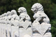 White Marble Carved Lions Stock Photos