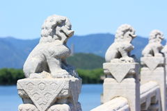 White Marble Carved Lions Royalty Free Stock Images