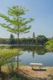 White marble chair locate near lake. White marble chair locate near lake in public park Royalty Free Stock Photos
