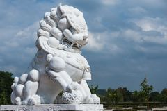 White marble Chinese lion. The white marble Chinese lion Royalty Free Stock Photography