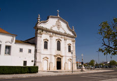 White marble church in the Portuguese city Stock Photo