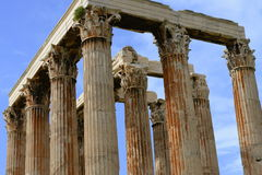 White marble column head detail of Zeus temple Stock Photos