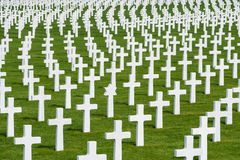 White marble crosses at an American military cimetery Stock Photo