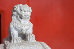White marble figure outside a residential building, Beijing, China Stock Photos