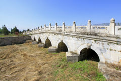 White marble five-hole stone bridge in the Eastern Royal Tombs o Stock Photos