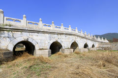 White marble five-hole stone bridge in the Eastern Royal Tombs o Royalty Free Stock Photos