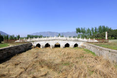 White marble five-hole stone bridge in the Eastern Royal Tombs o Stock Photography