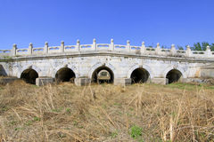 White marble five-hole stone bridge in the Eastern Royal Tombs o Royalty Free Stock Photo