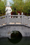 White marble Guanyin statue in Nanyue Damiao temple, China. White marble Guanyin statue on the bridge in Nanyue Damiao temple, Heng Shan, Hunan, China stock photography