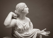 White marble head of young woman.  Royalty Free Stock Photos