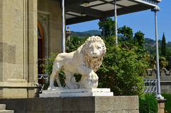 White marble lion. Lion white marble adorns the Vorontsov Palace, as well as guarding the palace from unwanted guests. Leo is awake and has a menacing look Stock Photos