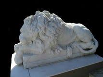 White marble lion on black background Royalty Free Stock Photo