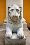 White marble lion sculpture Royalty Free Stock Photos