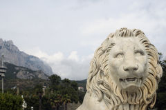 White marble lion sculpture installed in the in the Vorontsovsky Palace. Stock Photography