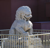 White marble lion. This white marble lion is standing over the Tianamen.It looks so solemnly and vividly Royalty Free Stock Photos