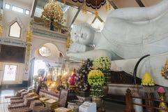 White marble nirvana Buddha in Thailand. Udonthani, Thailand- March 21,2015: Main chapel of Wat Pa Phu Kon, The biggest white marble nirvana Buddha in Thailand Stock Photos