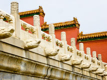White marble railings. With red walls background inside the Imperial Palace in Beijing China Royalty Free Stock Images