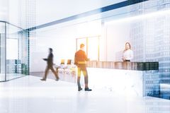 White marble reception, open plan office, people royalty free illustration