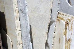 White marble slabs. A stack of white marble slabs, Tuscany, Italy Royalty Free Stock Photography